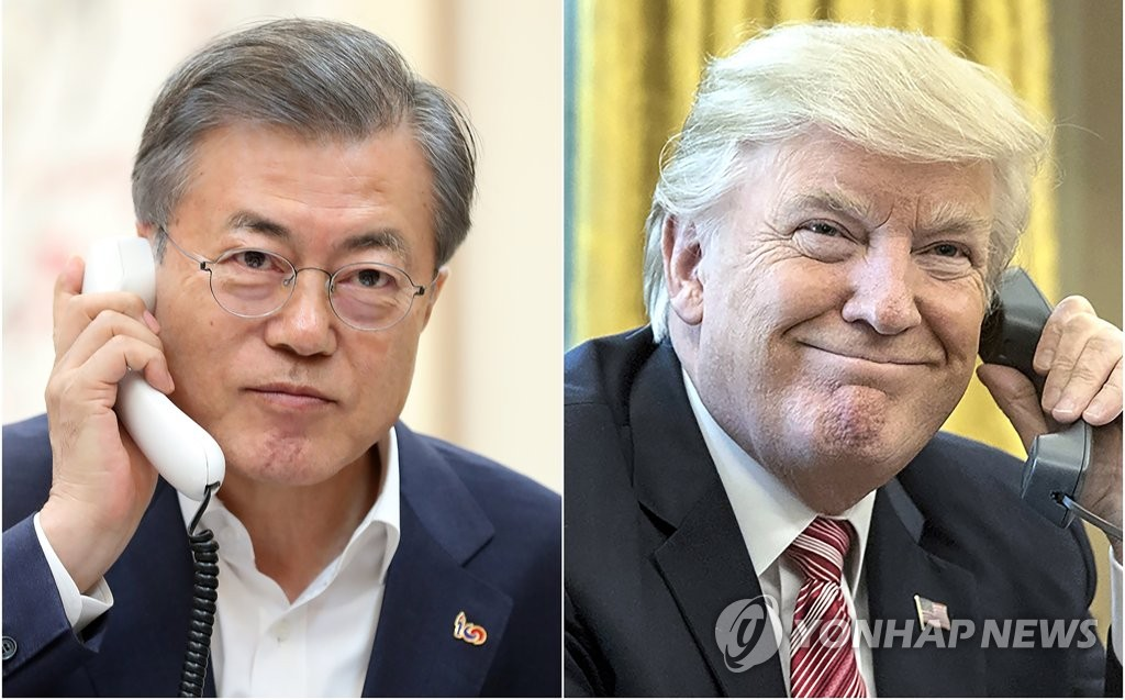 South Korean President Moon Jae-in (L) and U.S. President Donald Trump in file photos released by Moon's office (Yonhap)