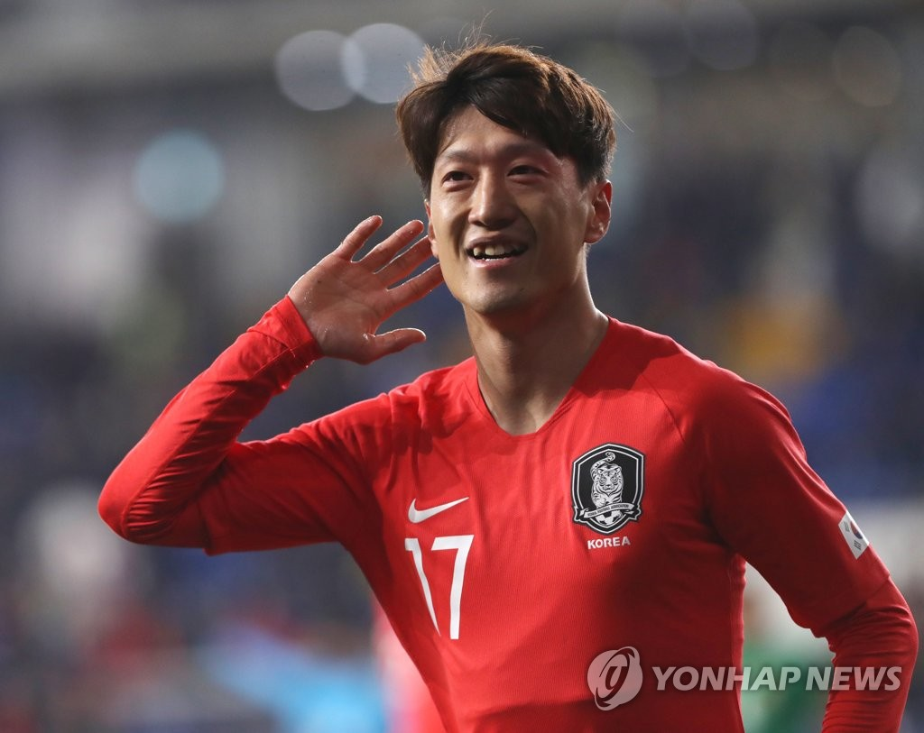 In this file photo from March 22, 2019, Lee Chung-yong of South Korea celebrates his goal against Bolivia in a men's friendly football match at Munsu Football Stadium in Ulsan, 400 kilometers southeast of Seoul. (Yonhap)