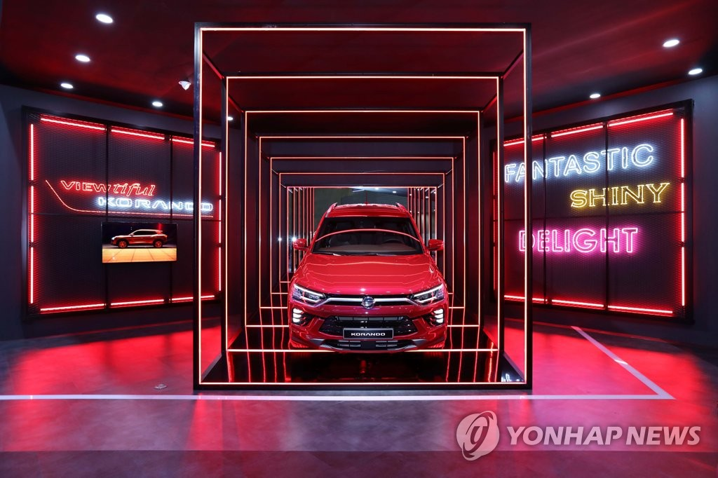 SsangYong Motor Co.'s Korando Style Zone at the Seoul motor show in Goyang. (Yonhap)