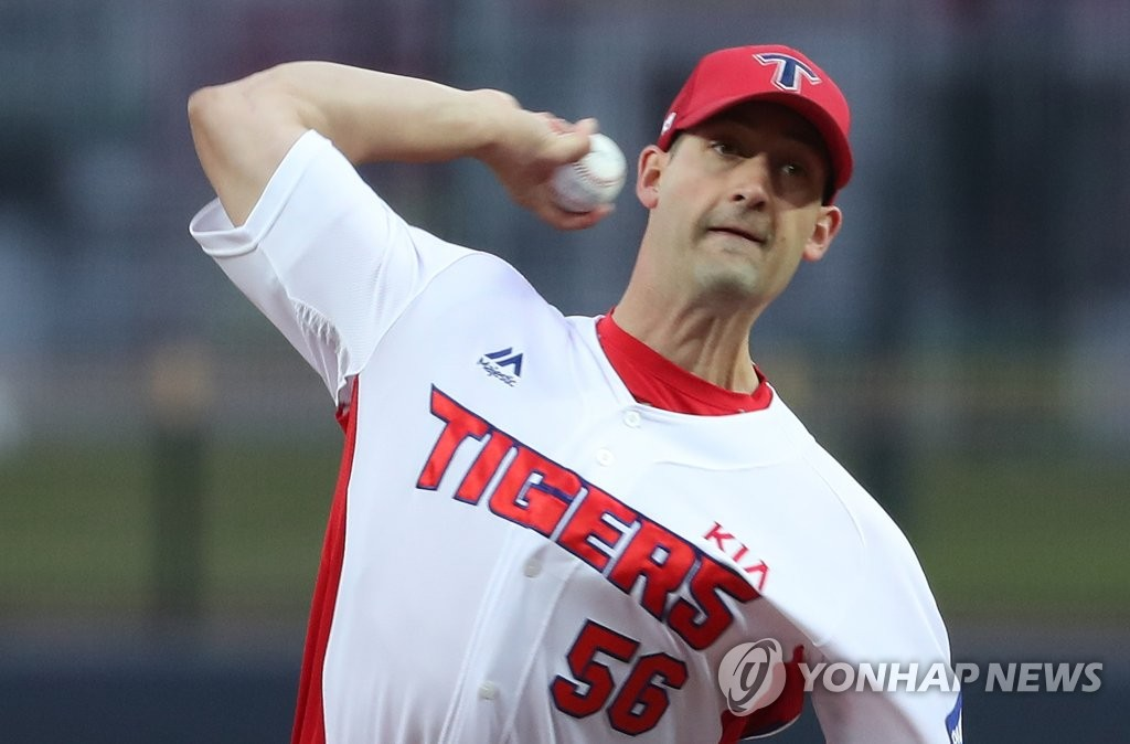 Joe Wieland of the Kia Tigers throws a pitch against the NC Dinos in the top of the first inning of a Korea Baseball Organization regular season game at Gwangju-Kia Champions Field in Gwangju, 330 kilometers south of Seoul, on April 10, 2019. (Yonhap)