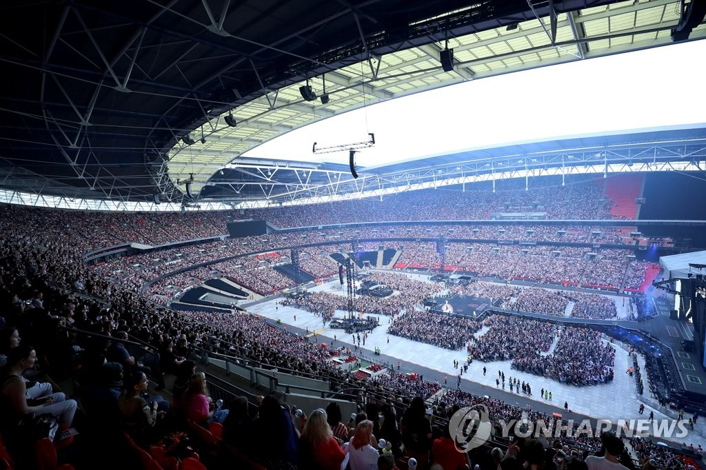 This photo of a BTS concert at Wembley Stadium in London on June 2, 2019 is provided by Big Hit Entertainment. (Yonhap)