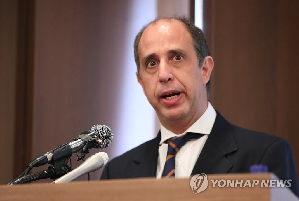 In this file photo, taken June 21, 2019, Tomas Ojea Quintana, the U.N. special rapporteur on human rights in North Korea, speaks during a news conference in Seoul. (Yonhap)