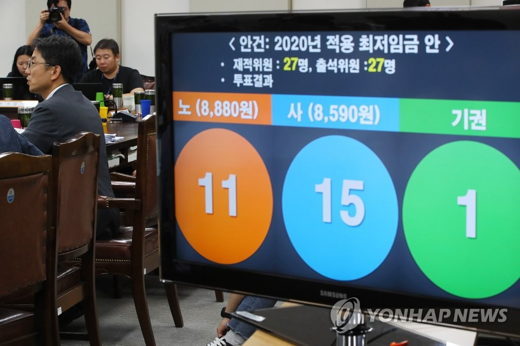 This photo, taken July 12, 2019, shows the result of a vote for the minimum wage for next year at a meeting of the Minimum Wage Commission held in the administrative capital of Sejong. South Korea raised the minimum wage for 2020 to 8,590 won, up 2.9 percent from this year. (Yonhap)