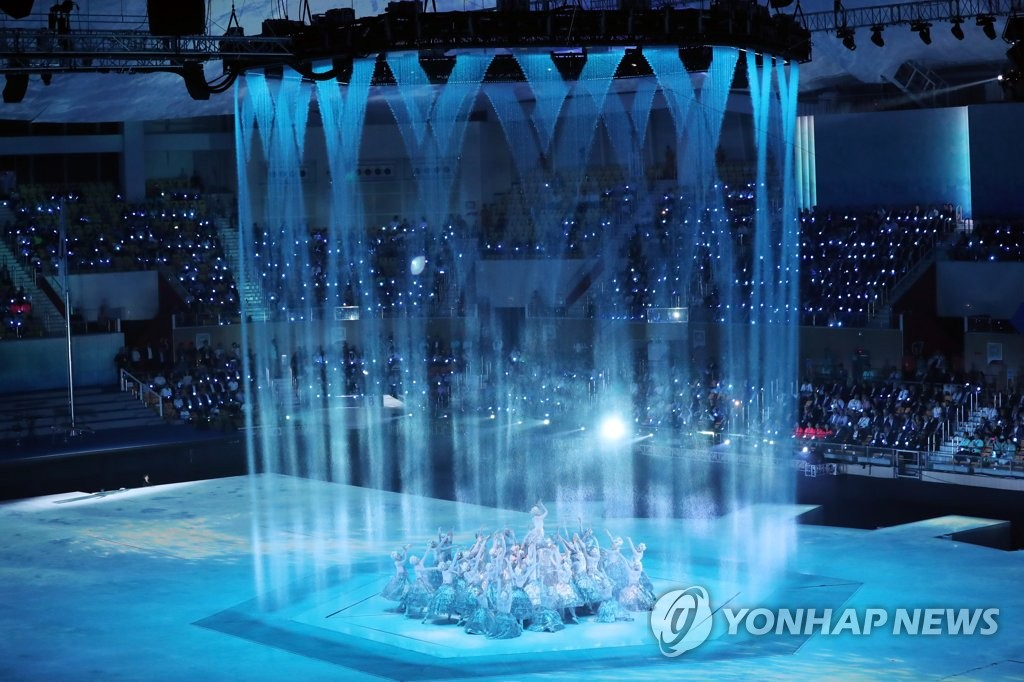 The opening ceremony of the 18th FINA World Championships is underway at Universiade Gymnasium on Kwangju Women's University campus in Gwangju, 330 kilometers south of Seoul, on July 12, 2019. (Yonhap)