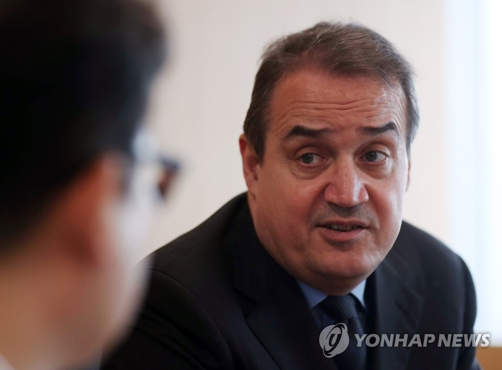 Yannick Glemarec, executive director of the Green Climate Fund, is interviewed by Yonhap News Agency at his office in Incheon, a port city just west of Seoul, on July 15, 2019. (Yonhap)