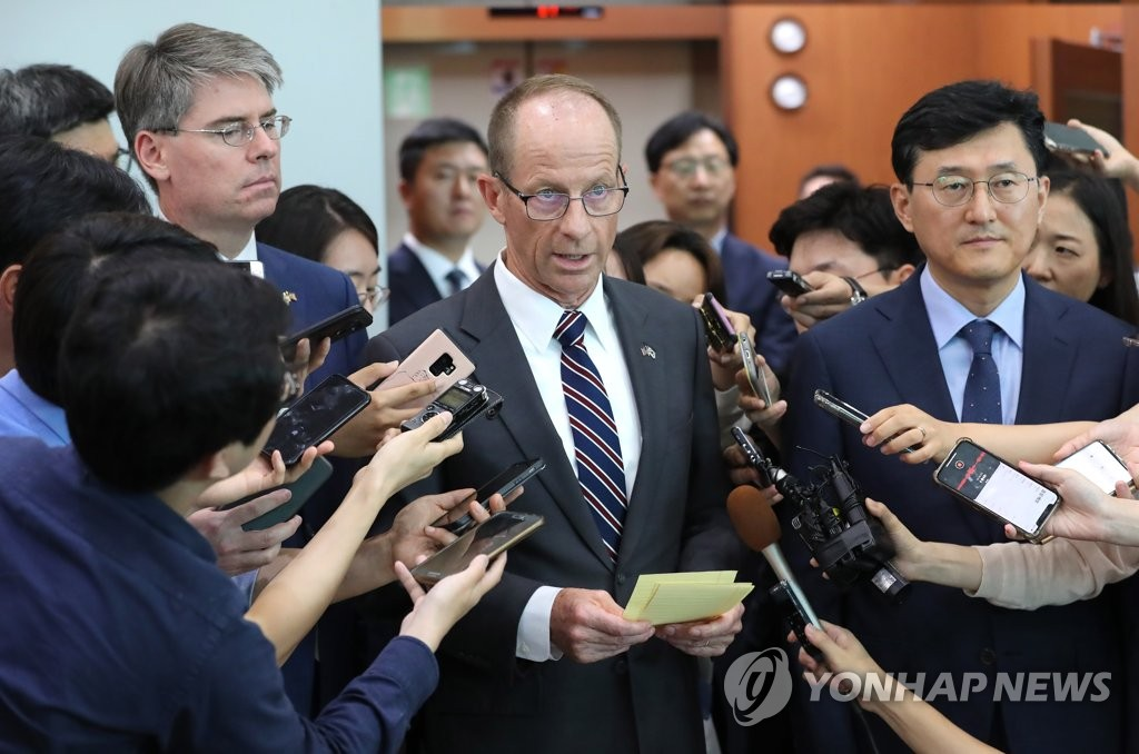 David Stilwell, new assistant secretary of state for East Asian and Pacific affairs, speaks during a brief meeting with the press at the foreign ministry in Seoul on July 17, 2019. (Yonhap)