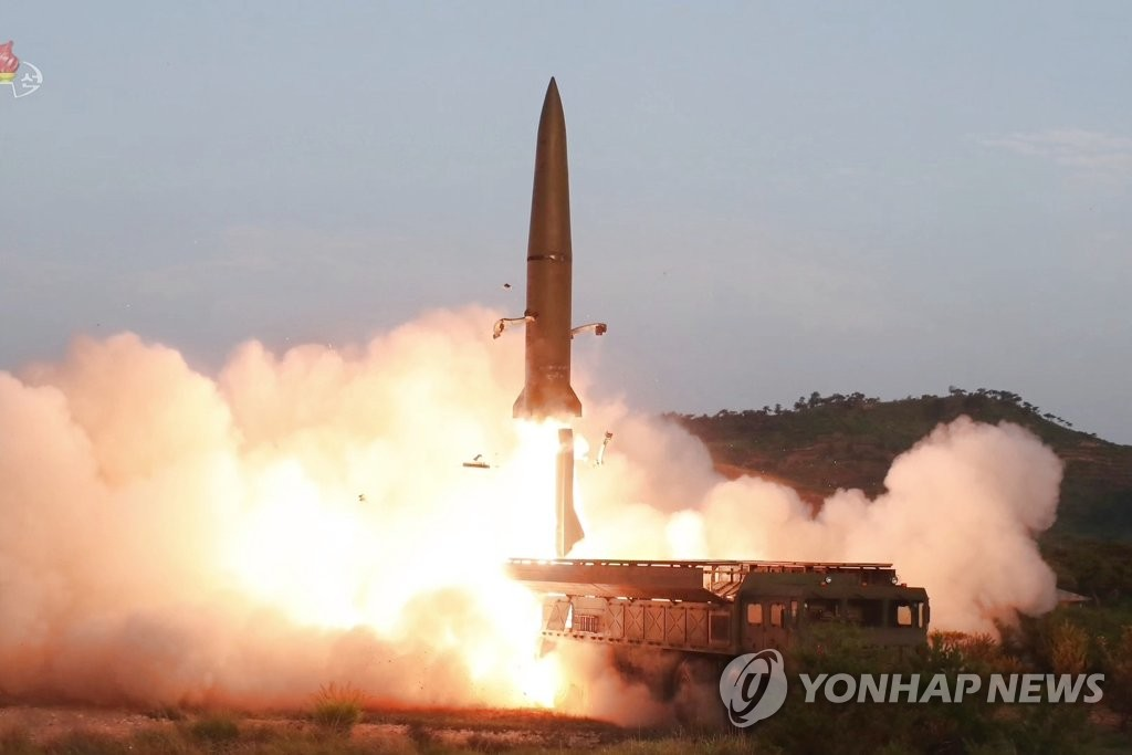 This footage, aired by the (North) Korean Central Television on July 26, 2019, shows a short-range missile being fired from a transporter erector launcher on the Hodo Peninsula near the eastern coastal town of Wonsan the previous day. (For Use Only in the Republic of Korea. No Redistribution) (Yonhap)