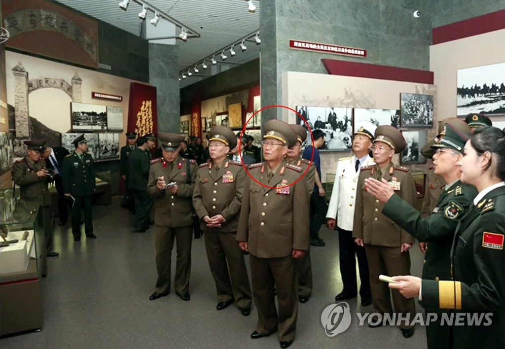 Kim Su-gil (circled in red), director of the General Political Bureau of the North's Korean People's Army, looks over various exhibits in China in this image from Chosun Central TV on Aug. 19, 2019. The North Korean news outlet said Kim visited many places in both Beijing and Shanghai, such as the Mausoleum of Mao Zedong and the Military Museum of the Chinese People's Revolution. (For Use Only in the Republic of Korea. No Redistribution) (Yonhap)