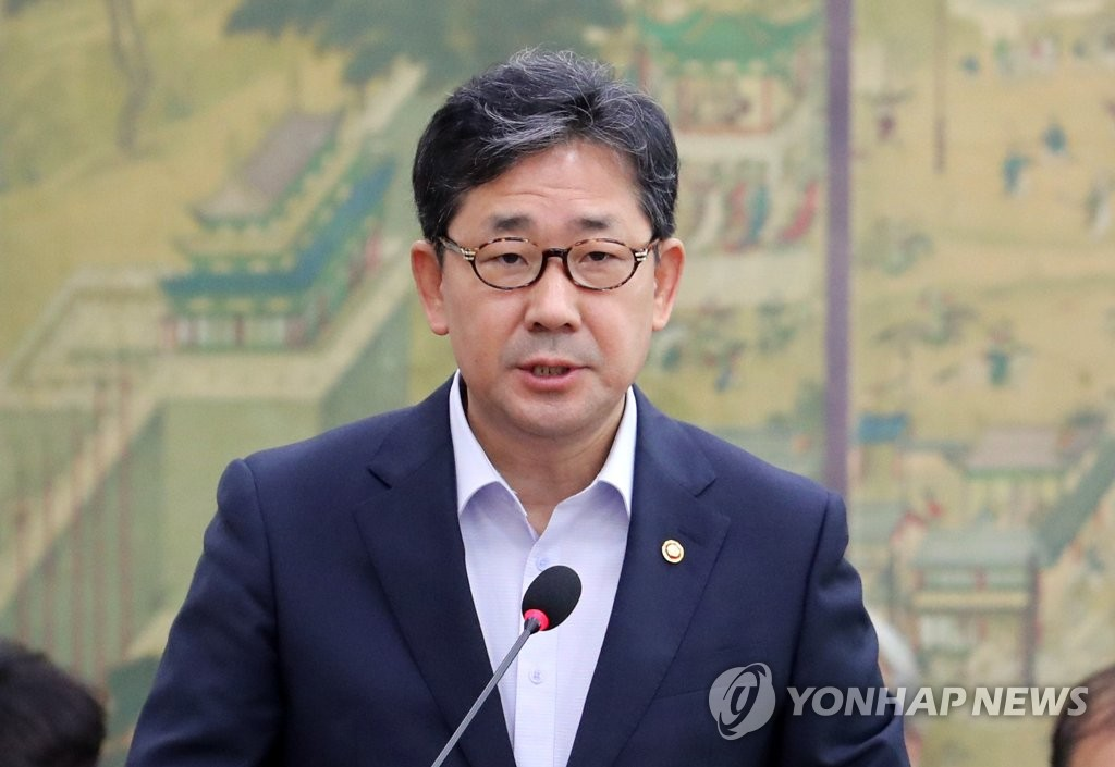 In this file photo from Aug. 21, 2019, South Korean Sports Minister Park Yang-woo speaks at a parliamentary meeting at the National Assembly in Seoul. (Yonhap)