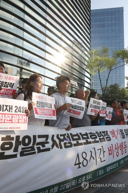 Anti-GSOMIA protest outside the Japanese embassy in Seoul