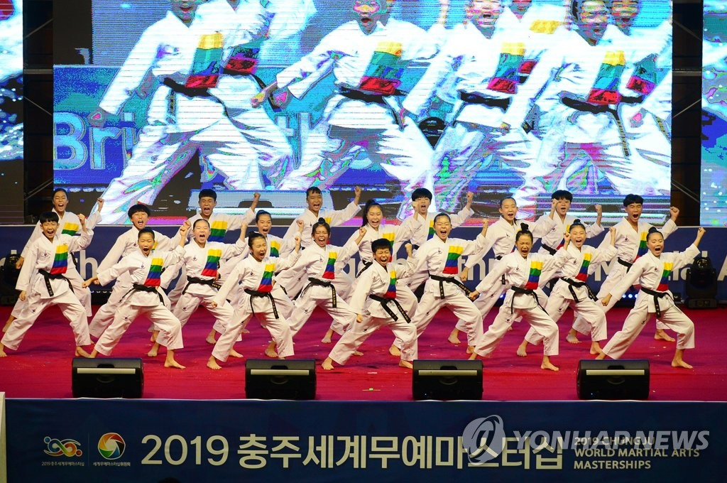 A taekwondo demonstration is underway at the closing ceremony of the 2019 Chungju World Martial Arts Masterships at Chungju Stadium in Chungju, about 150 kilometers southeast of Seoul, on Sept. 6, 2019, in this photo provided by the organizing committee. (PHOTO NOT FOR SALE) (Yonhap)