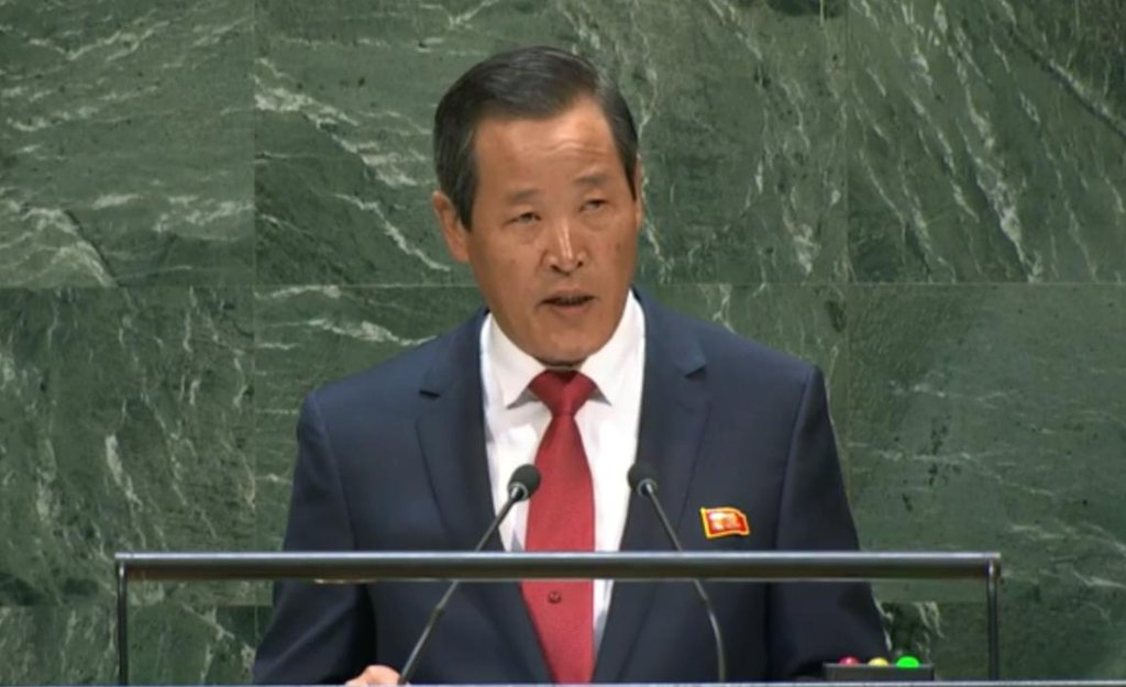This photo, captured from the United Nations' Web TV, shows North Korean Ambassador to the U.N. Kim Song addressing the General Assembly in New York on Sept. 30, 2019. (Yonhap)