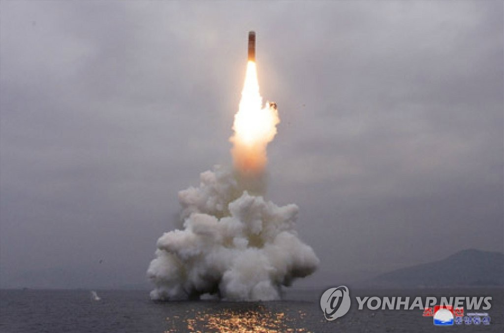 This photo released by North Korea's state media shows a missile being launched from waters off its east coast on Oct. 2, 2019. The North's Korean Central News Agency said Thursday that it successfully test-fired a submarine-launched ballistic missile from waters off its eastern coast town of Wonsan the previous day. (For Use Only in the Republic of Korea. No Redistribution) (Yonhap)