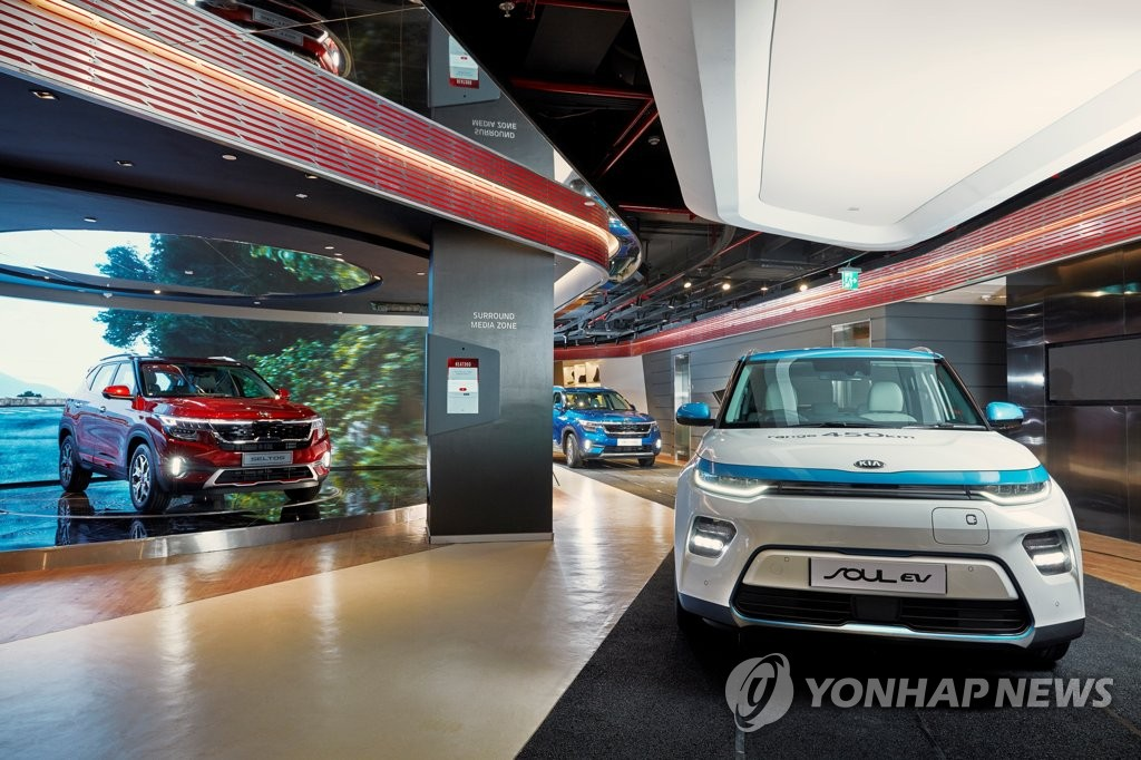 This photo taken on Oct. 10, 2019, shows Kia Motors' Beat360 Delhi exhibition hall, which opened in Gurgaon, a new city near Delhi, to promote its vehicles. (PHOTO NOT FOR SALE)(Yonhap)