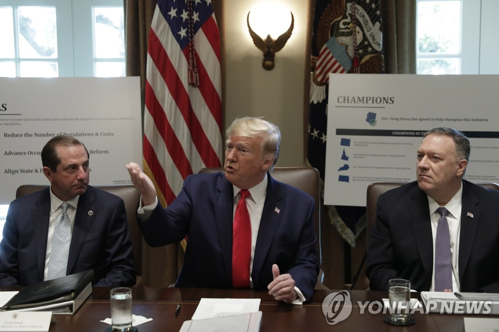 This EPA photo shows U.S. President Donald Trump (C) presiding over a Cabinet meeting at the White House in Washington on Oct. 21, 2019. (Yonhap)