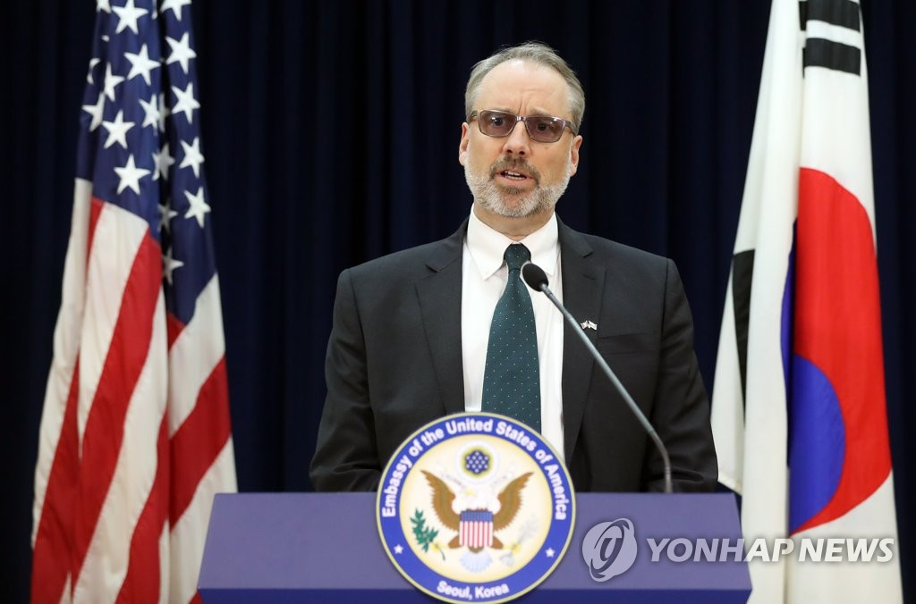 James DeHart of the U.S. State Department in charge of the defense cost-sharing talks with South Korea speaks during a media briefing at the U.S. Embassy in Seoul on Nov. 19, 2019. (Yonhap)
