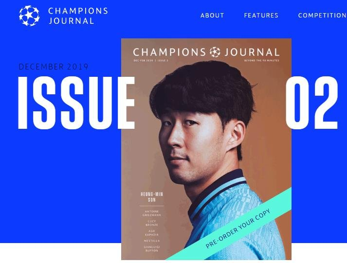 La star sud-coréenne de Tottenham Hotspur, Son Heung-min, à la couverture de Champions Journal, le magazine officiel de la Champions League. (Capture du site Internet de Champions Journal. Revente et archivage interdits)
