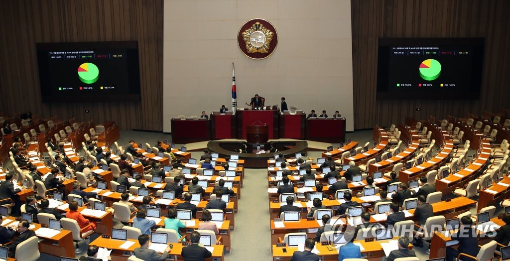 Lawmakers vote on a bill on the use and protection of credit information at the National Assembly on Jan. 9, 2020. A total of 198 uncontentious bills were passed at the plenary session, which was boycotted by the main opposition Liberty Korea Party. (Yonhap)