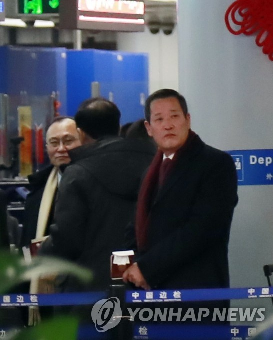 North Korea's Ambassador to the United Nations Kim Song is seen at the Beijing international airport on Jan. 18, 2020, before taking a flight to Pyongyang. (Yonhap)
