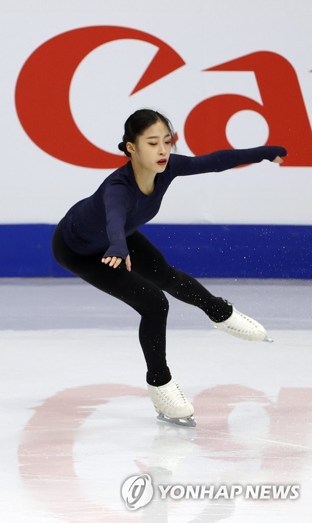South Korean figure skater You Young trains at Mokdong Ice Rink in Seoul on Feb. 4, 2020, ahead of the International Skating Union's Four Continents Figure Skating Championships. (Yonhap)