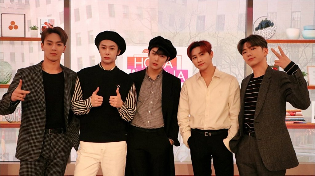 "This image of Monsta X taken during its appearance on American morning show ""TODAY with Hoda & Jenna"" on Feb. 20, 2020, is provided by Starship Entertainment. (PHOTO NOT FOR SALE) (Yonhap)"