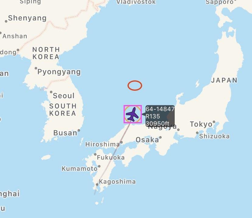 This image, captured from aviation tracker Aircraft Spots' Twitter feed on April 15, 2020, shows the flight path of the U.S. Air Force's RC-135U Combat Sent. (PHOTO NOT FOR SALE) (Yonhap)