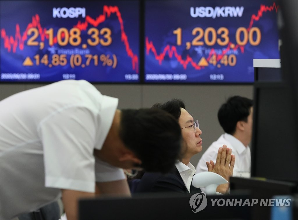 Electronic signboards at a Hana Bank trading room in Seoul shows the Korean won closed at 1,203.0 won against the U.S. dollar on June 30, 2020, down 4.40 won from the previous session's close. (Yonhap)