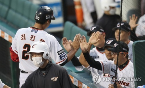 Hanwha player celebrates three-run homerun