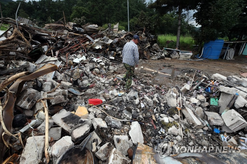 This photo shows a house in Chungju, North Chungcheong Province, which was destroyed by a gas explosion prompted by a landslide on Aug. 2, 2020. (Yonhap)