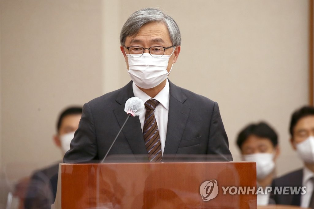 Choe Jae-hyeong, head of the Board of Audit and Inspection, speaks at the National Assembly in Seoul on Sept. 1, 2020. (Yonhap)