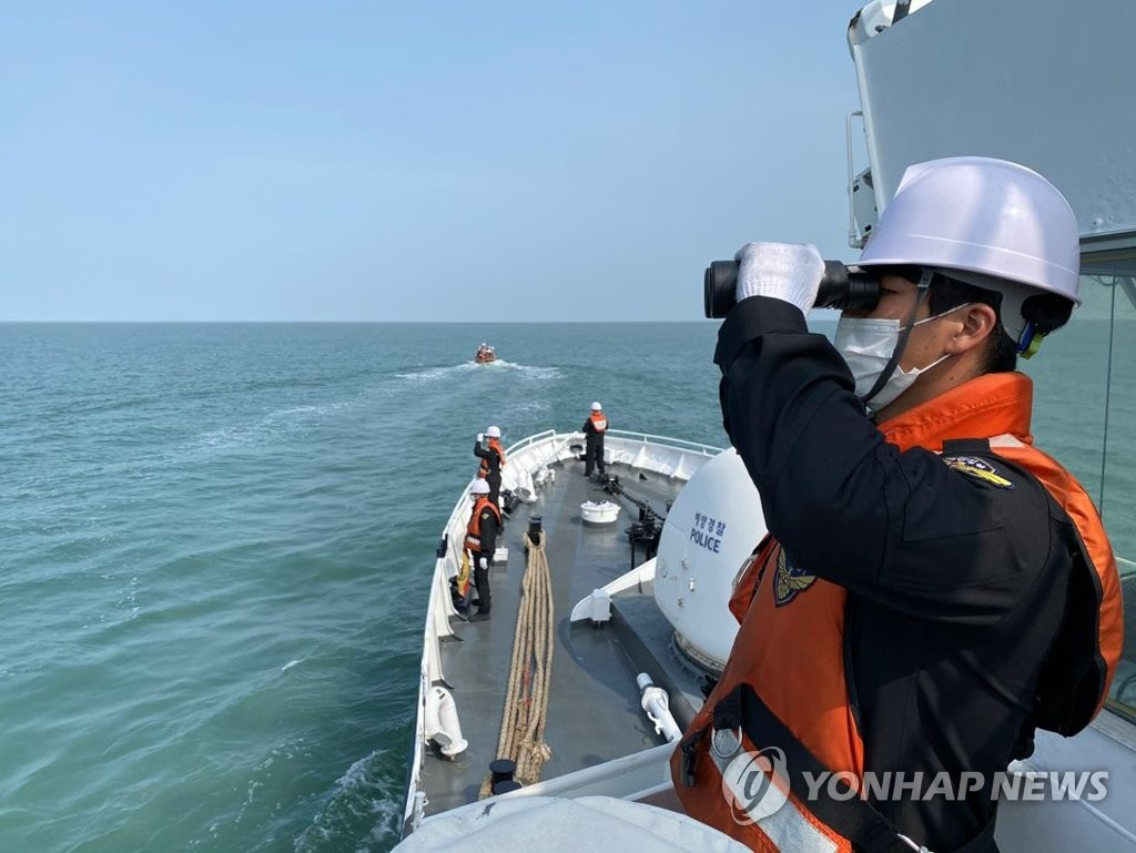 The military and the Coast Guard continue to search for the body of a South Korean fisheries official, who was shot to death by North Korean troops last month, in waters off the western border island of Yeonpyeong on Oct. 3, 2020 in this photo provided by the Coast Guard. (PHOTO NOT FOR SALE) (Yonhap)