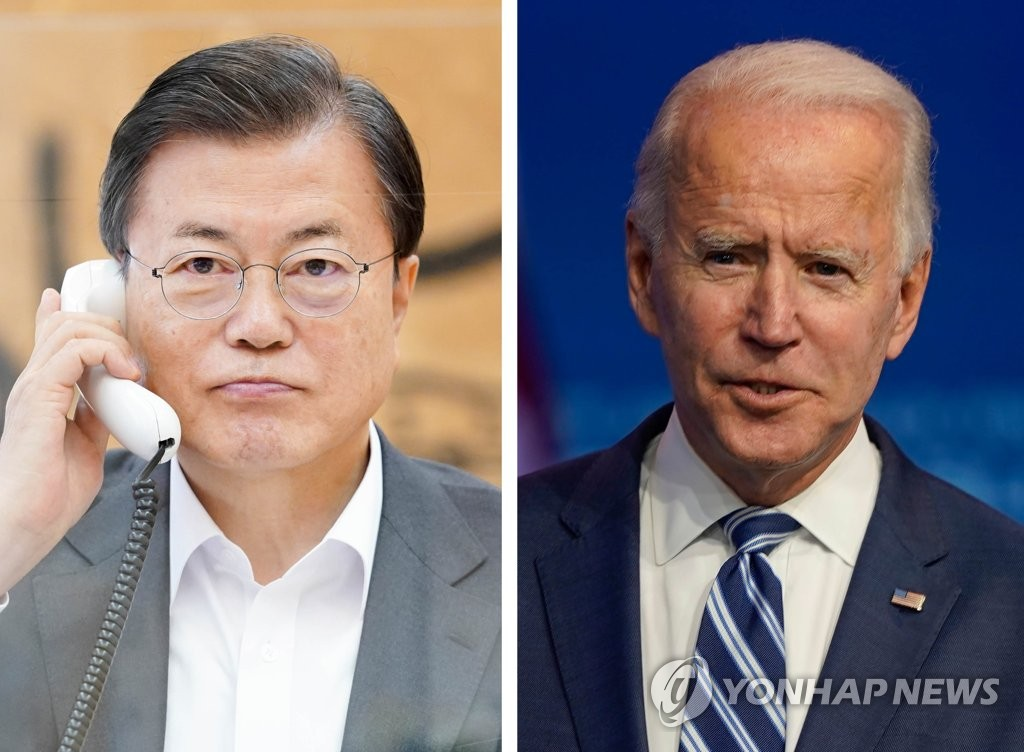 South Korean President Moon Jae-in (L) makes a phone call with U.S. President-elect Joe Biden at Cheong Wa Dae in Seoul on Nov. 12, 2020 in this photo released by his office. An Associate Press file photo (R) shows Biden. (PHOTO NOT FOR SALE) (Yonhap)