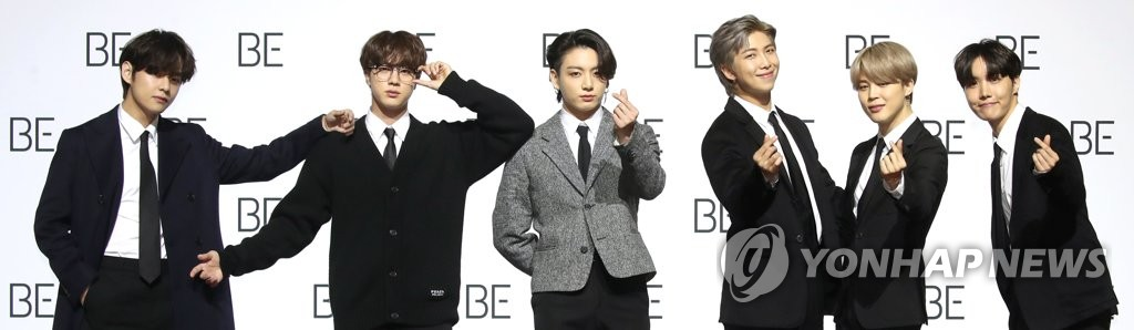 BTS poses for the cameras ahead of a press conference marking its new album release at the Dongdaemun Design Plaza in central Seoul on Nov. 20, 2020. (Yonhap)