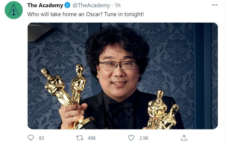 "This photo, captured from the Twitter account of the Academy of Motion Picture Arts and Sciences (AMPAS) on April 25, 2021, shows South Korean director Bong Joon-ho, whose ""Parasite"" won four titles at the 92nd Academy Awards in 2020. The Academy posted the photo ahead of the event's 93rd edition. (PHOTO NOT FOR SALE) (Yonhap)"
