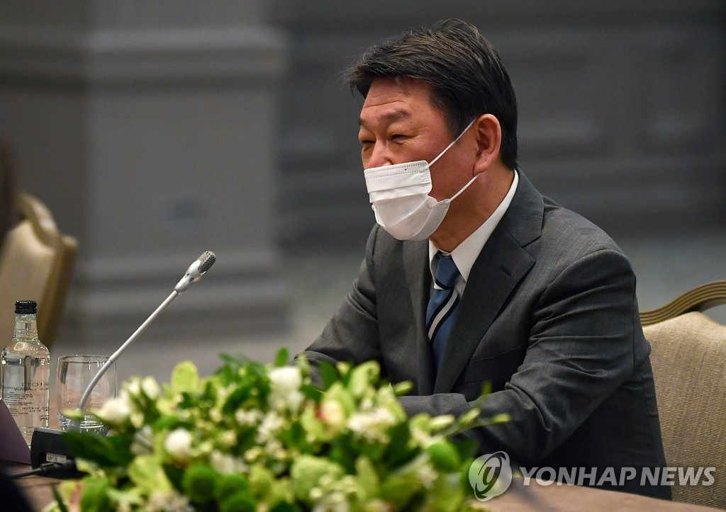 This photo, released on May 3, 2021, by the Associated Press, shows Toshimitsu Motegi speaking during a meeting with U.S. Secretary of State Antony Blinken on the sidelines of a Group of Seven gathering in London. (Yonhap)