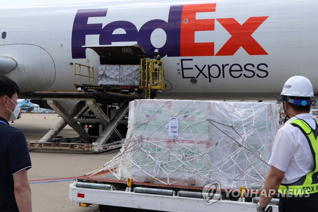 This photo taken Aug. 16, 2021, and provided by health authorities, shows Janssen vaccines arriving at Incheon International Airport, west of Seoul, from the United States. (PHOTO NOT FOR SALE) (Yonhap)