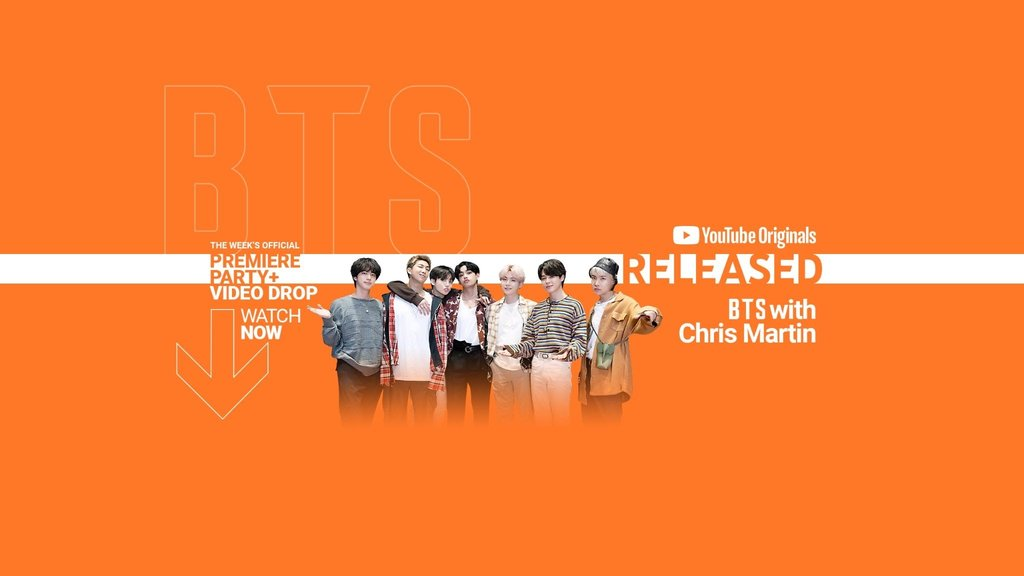 """This image, provided by YouTube, shows a promotional image for an episode of YouTube show """"RELEASED,"""" featuring BTS and Chris Martin. (PHOTO NOT FOR SALE) (Yonhap)"""